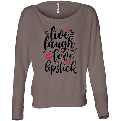 live, laugh, love, lipstick - Off the Shoulder Long sleeve Flowy Feminine Wide Neck Tee - Bella Brand Shirt - 3 Colors Available Plus Size XS-2XL - MADE IN THE USA