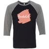 Lipsense BOMBSHELL Lip Color Lipstick Swipe - Unisex Three-Quarter Sleeve Baseball T-Shirt - Bella & Canvas - 16 Colors Available Plus Size XS-2XL - MADE IN THE USA