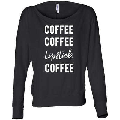 Coffee-Coffee-Lipstick-Coffee Off the Shoulder Long sleeve Flowy Feminine Wide Neck Tee - Bella Brand Shirt - 7 Colors Available Plus Size XS-2XL - MADE IN THE USA