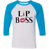 Lipsense Lip Boss Kiss Lips - Unisex Three-Quarter Sleeve Baseball T-Shirt - Bella & Canvas - 16 Colors Available Plus Size XS-2XL - MADE IN THE USA