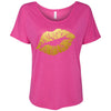Lipstick Lips Kiss Print - Gold - Bella Brand Ladies Slouchy Tee Feminine Women T-shirt - 7 colors available PLUS Size S-2XL MADE IN THE USA