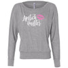 Lipstick Hustler (pink lips) - Off the Shoulder Long sleeve Flowy Feminine Wide Neck Tee - Bella Brand Shirt - 6 Colors Available Plus Size XS-2XL - MADE IN THE USA