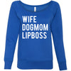 WIFE-DOGMOM-LIPBOSS - Bella + Canvas - Women's Long Sleeve Sponge Fleece Wideneck Sweatshirt 6 Colors Available Size S-2XL - MADE IN THE USA