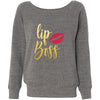 Lipboss GOLD Bella + Canvas - Women's Long Sleeve Sponge Fleece Wideneck Lip Boss Sweatshirt 6 Colors Available Size S-2XL - MADE IN THE USA