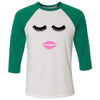 Lips & Lashes - Unisex Three-Quarter Sleeve Baseball T-Shirt - Bella & Canvas - 16 Colors Available Plus Size XS-2XL - MADE IN THE USA