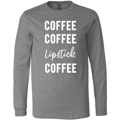 Coffee Coffee Lipstick Coffee - Long Sleeve Tee Unisex Canvas Brand T-shirt - 5 colors available PLUS Size XS-2XL MADE IN THE USA