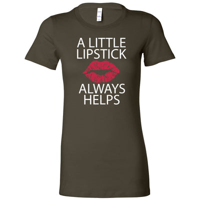 A Little Lipstick Always Helps - Bella + Canvas - Women's Short Sleeve Feminine T-shirt - 15 Colors Available Plus Size S-2XL - MADE IN THE USA