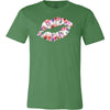 WaterColor Floral Poppies - Lipstick Kiss Print - Bella & Canvas - O-neck Unisex Short Sleeve Jersey Tee - 12 Colors Available Plus Size XS-4XL - MADE IN THE USA