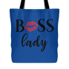 BOSS Lady Lipstick Kiss Lips - Canvas Tote Shopping Bag - White or Blue - MADE IN THE USA
