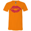 Lipstick Kiss Lips (Strawberry Shortcake) Bella & Canvas Unisex V-neck Jersey T-Shirt - 12 Colors Available Plus Size XS-3XL - MADE IN THE USA