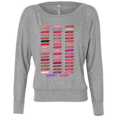 Lipsense 50 Shades Lip Color Swatches - Off the Shoulder Long sleeve Flowy Feminine Wide Neck Tee - Bella Brand Shirt - 7 Colors Available Plus Size XS-2XL - MADE IN THE USA