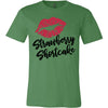 Lipstick Kiss Lips Print - Lipsense: STRAWBERRY SHORTCAKE - Bella & Canvas - O-neck Unisex Short Sleeve Jersey Tee - 10 Colors Available Plus Size XS-4XL - MADE IN THE USA