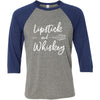 Lipstick & Whiskey - Unisex Three-Quarter Sleeve Baseball T-Shirt - Bella & Canvas - 8 Colors Available Plus Size XS-2XL - MADE IN THE USA