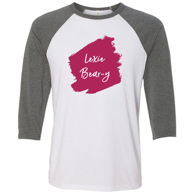 Lipsense LEXIE BEAR-Y Lip Color Lipstick Swipe - Unisex Three-Quarter Sleeve Baseball T-Shirt - Bella & Canvas - 16 Colors Available Plus Size XS-2XL - MADE IN THE USA