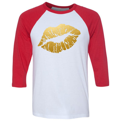 Lipstick Lips Kiss Print GOLD Unisex Three-Quarter Sleeve Baseball T-Shirt - Bella & Canvas - 16 Colors Available Plus Size XS-2XL - MADE IN THE USA