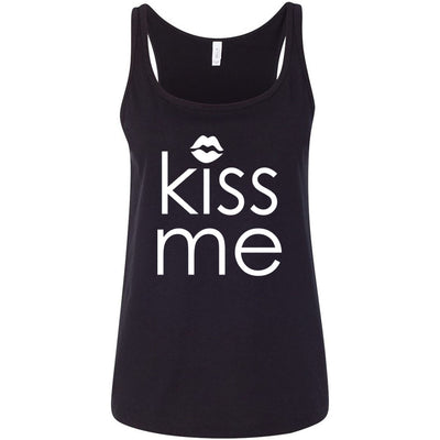 Kiss Me - Ladies Relaxed Jersey Tank Top Women - Bella & Canvas - 8 colors available - PLUS Size S-2XL MADE IN THE USA
