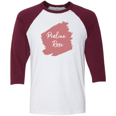 Lipsense PRALINE ROSE Lip Color Lipstick Swipe - Unisex Three-Quarter Sleeve Baseball T-Shirt - Bella & Canvas - 16 Colors Available Plus Size XS-2XL - MADE IN THE USA