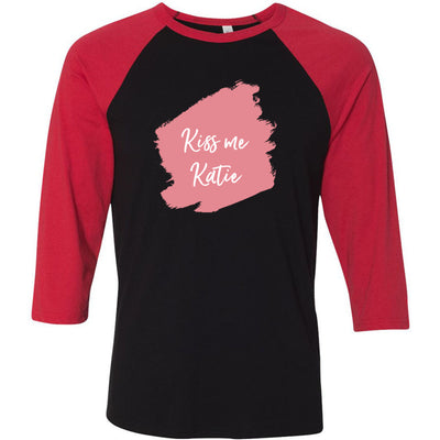 Lipsense KISS ME KATIE Lip Color Lipstick Swipe - Unisex Three-Quarter Sleeve Baseball T-Shirt - Bella & Canvas - 16 Colors Available Plus Size XS-2XL - MADE IN THE USA