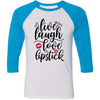 Live, laugh, love, lipstick - Unisex Three-Quarter Sleeve Baseball T-Shirt - Bella & Canvas - 16 Colors Available Plus Size XS-2XL - MADE IN THE USA