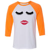 Lips & Lashes (strawberry shortcake) - Unisex Three-Quarter Sleeve Baseball T-Shirt - Bella & Canvas - 16 Colors Available Plus Size XS-2XL - MADE IN THE USA