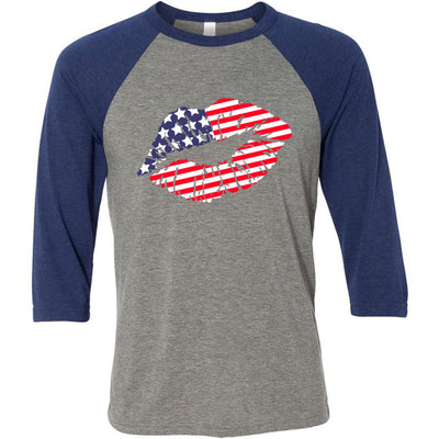 American Flag Patriotic Lips Lipstick Kiss Print - Unisex Three-Quarter Sleeve Baseball T-Shirt - Bella & Canvas - 16 Colors Available Plus Size XS-2XL - MADE IN THE USA