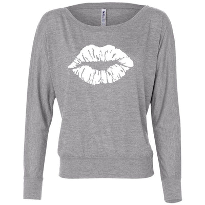 Lipstick Lips Kiss (white) Off the Shoulder Long sleeve Flowy Feminine Wide Neck Tee - Bella Brand Shirt - 7 Colors Available Plus Size XS-2XL - MADE IN THE USA