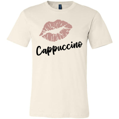 Lipstick Kiss Lips Print - Lipsense: CAPPUCCINO- Bella & Canvas - O-neck Unisex Short Sleeve Jersey Tee - 8 Colors Available Plus Size XS-4XL - MADE IN THE USA