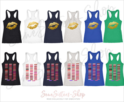 Gold Lips - & Lipsense 50 Shades Lip Color Swatches (Front & Back) - Ladies Racerback Tank Top Women - 6 colors available - PLUS Size XS-2XL MADE IN THE USA