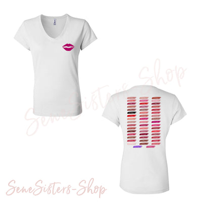 Lipsense 50 Shades Lip Color Swatches Tee Lipstick & Purple Reign Lips Kiss (Front & Back) - Bella + Canvas - Women's Short Sleeve Jersey V-Neck T-shirt - 7 Colors Available Plus Size S-2XL - MADE IN THE USA