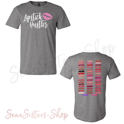 Lipstick Hustler & Lipsense 50 Lip Color Swatches - (FRONT & BACK) - Bella & Canvas - O-neck Unisex Short Sleeve Jersey Tee - 12 Colors Available Plus Size XS-4XL - MADE IN THE USA
