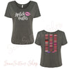 Lipstick Hustler + Lipsense 50 Shades Lip Color Swatches (Front & Back) Bella Brand Ladies Slouchy Tee Feminine Women T-shirt - 7 colors available PLUS Size S-2XL MADE IN THE USA
