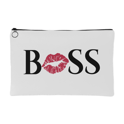 BOSS Kiss Lips - Travel Makeup Accessory Cosmetic Tote or Money Bag Size: Small or Large
