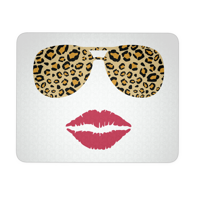 Leopard Sunglasses & Red Lipstick Lips Kiss White|Blue|Black COMPUTER OFFICE MOUSEPAD