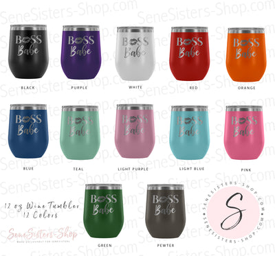 BOSS Babe Lips - 12 oz Stemless Wine Tumbler | Etched / Engraved Stainless Steel Mug Hot/Cold Cup - 12 Colors Available