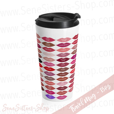 Lipsense 50 Lip Color Chart Lipstick Lips Stainless Steel Tumbler Travel Mug 15oz