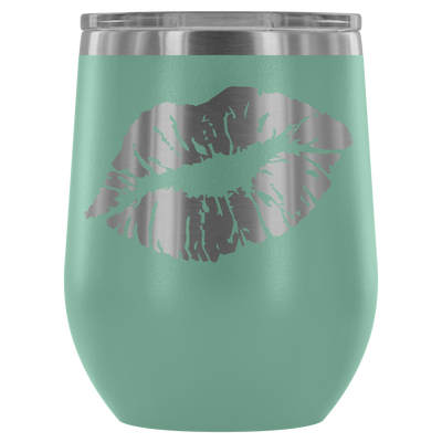 Lipstick Kiss Print slanted Lips - 12 oz Stemless Wine Tumbler | Etched / Engraved Stainless Steel Mug Hot/Cold Cup - 12 Colors Available