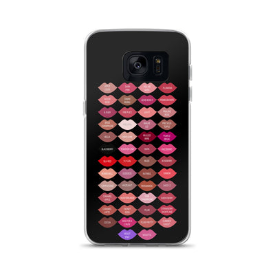 Lipsense 50 Lipstick Lip Color Chart Kisses Lips Black Cell Phone Case - Samsung
