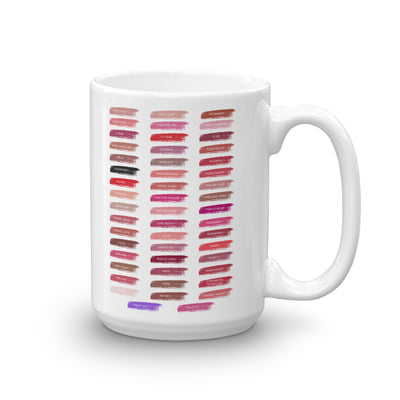 A Little Lipstick Always Helps - Lipsense Swatches 50 Lip Color Chart Coffee Cup Mug 11oz & 15 oz