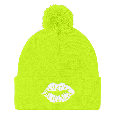 Lipstick Kiss White Lips Pom Pom Knit Beanie Cap Hat 11 Colors Available - MADE IN THE USA