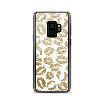 Gold Glitter Lipstick Kisses on White Background LIPS Cell Phone Case - Samsung