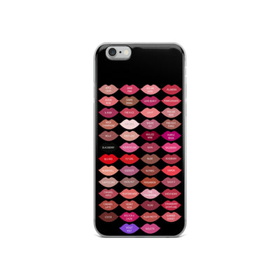 Lipsense 50 Lipstick Lip Color Chart Lips Kisses - Black Phone Case - iPhone