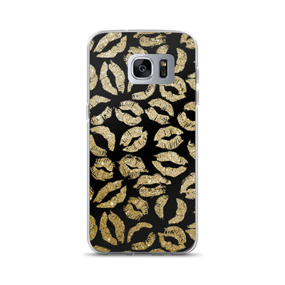 Gold Glitter Lipstick Kisses on Black Background LIPS Cell Phone Case - Samsung