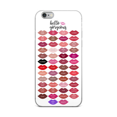 Hello Gorgeous Kisses - Lipsense Lipstick 50 Lip Color Chart Kisses Lips Cell Phone Case - iPhone