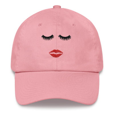 Lips & Lashes (red) hat baseball cap 5 Colors Available - MADE IN THE USA