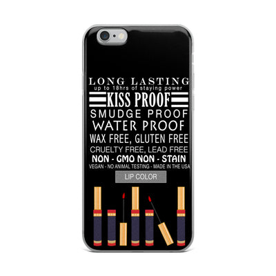 Lipsense Lip Color Product Description on Black Cell Phone Case - iPhone