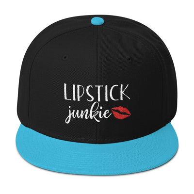 Lipstick Junkie (red lips) Snapback Hat baseball cap 19 Colors Available - MADE IN THE USA