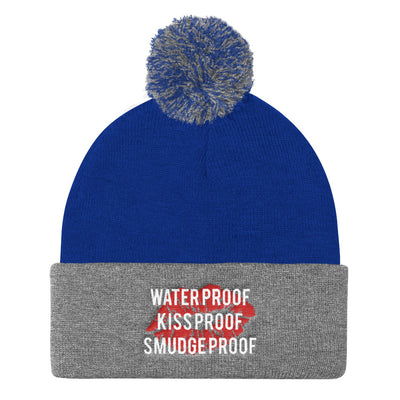 Waterproof-Kissproof-Smudgeproof Pom Pom Knit Beanie Cap Hat 6 Colors Available - MADE IN THE USA