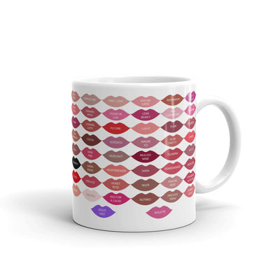 A Little Lipstick Always Helps - Lipsense Kisses 50 Lip Color Chart Coffee Cup Mug 11oz & 15 oz