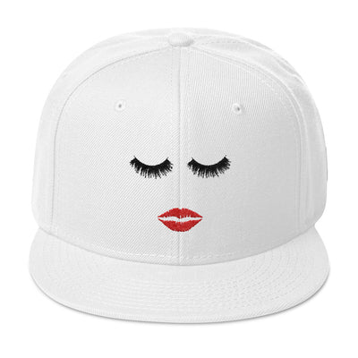 Lips & Lashes (red lips) Snapback Hat baseball cap 12 Colors Available - MADE IN THE USA