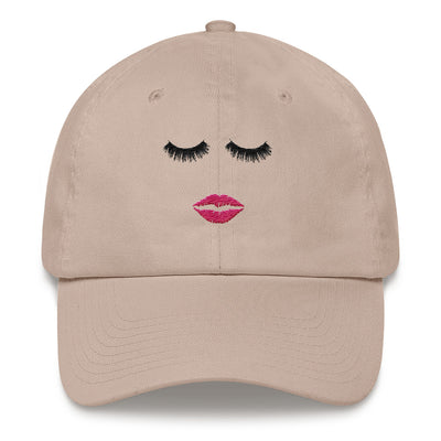 Lips & Lashes (pink) hat baseball cap 5 Colors Available - MADE IN THE USA
